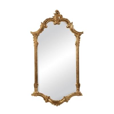 Elegant Mirror In Antiqued Gold Metal Leaf Finish C Scroll Motif