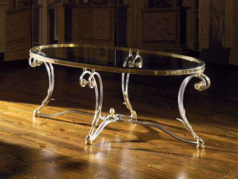 Louis XVI Cocktail Table In Polished Steel And Brass, Inset Beveled Glass  Top