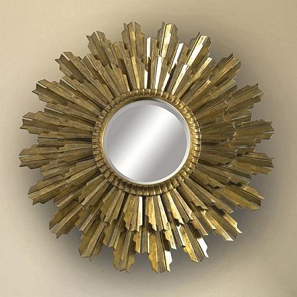 Genial LaBARGE Decorative Gold Gilded Sunburst Wall Mirror
