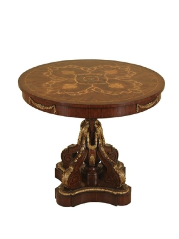 MAITLAND   SMITH Fontainbleau Finished Center Table, Marquetry Top, Hand  Carved Gold Gilded Base