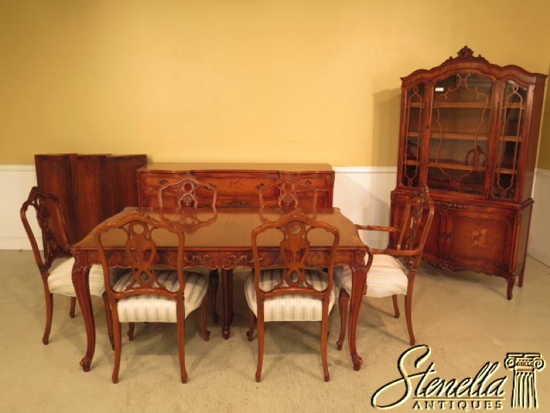 ROM WEBER Rosewood French Inlaid 9 Piece Vintage Dining Room Set