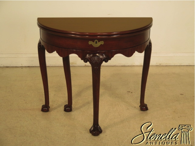 KITTINGER Colonial WIlliamsburg Clawfoot Mahogany Half Round Table. www stenellaantiques com