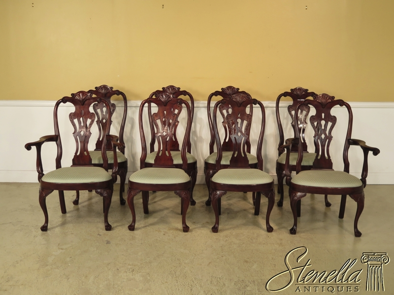 Set Of 8 HENREDON Carved Mahogany Philadelphia Dining Room Chairs