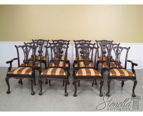 Set 12 EJ VICTOR Carved Mahogany Chippendale Dining Room Chairs