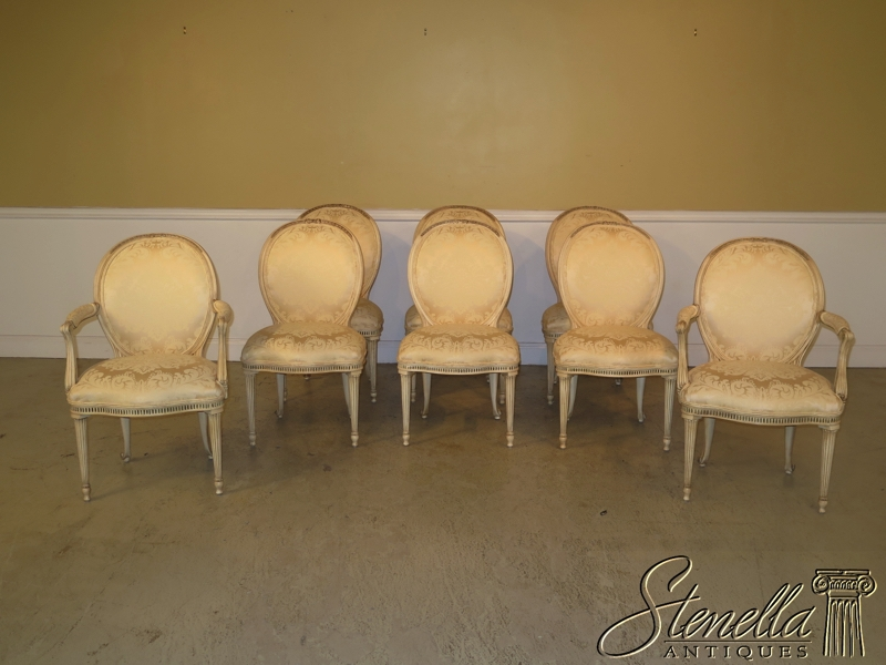 Great Set Of 8 EJ VICTOR French Medallion Back Dining Chairs