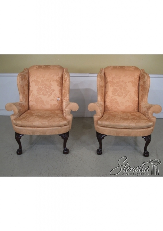 pair kindel winterthur ballnclaw mahogany wing chairs